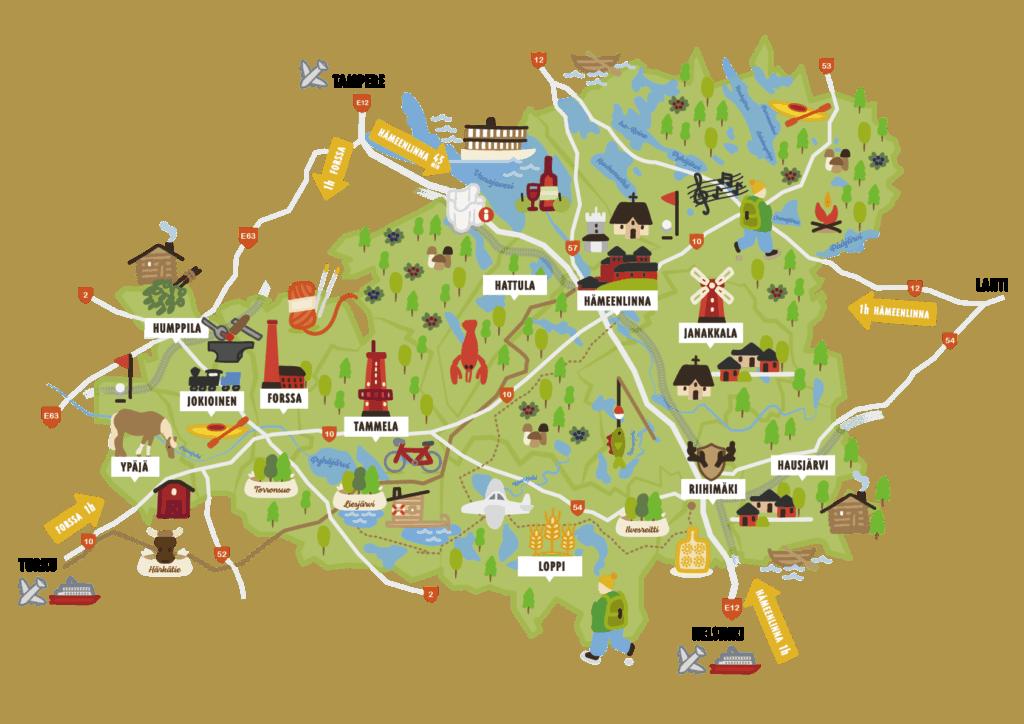 Visit Häme - kartta