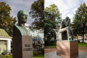 Taidekävely_Hämeenlinna_kirkkopuisto_Cajander_Larinkyösti_patsaat