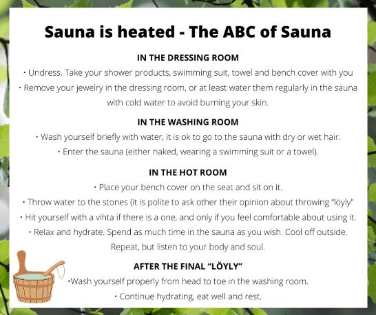 Sauna tips abc of sauna