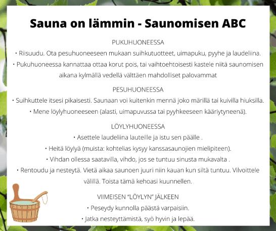 Vinkkejä saunomiseen saunomisen ABC